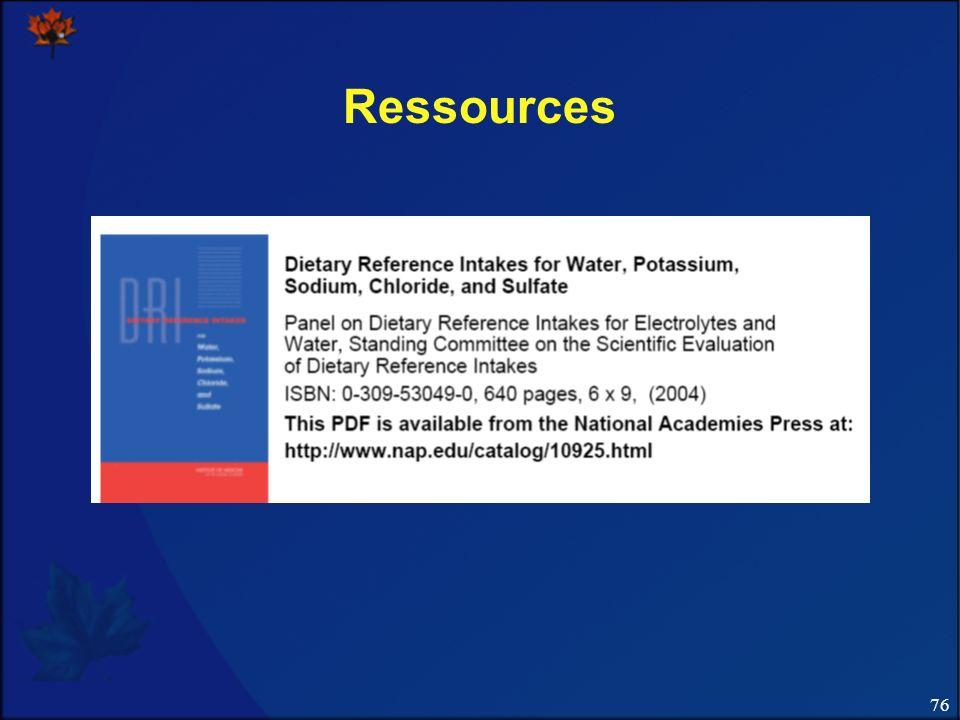 Ressources Diapo 76. Référence pour notre apport nutritionnel de référence actuel relativement au sodium.