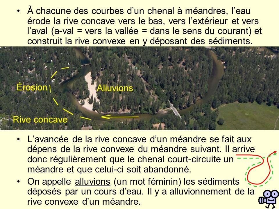 À chacune des courbes d'un chenal à méandres, l'eau érode la rive concave vers le bas, vers l'extérieur et vers l'aval (a-val = vers la vallée = dans le sens du courant) et construit la rive convexe en y déposant des sédiments.