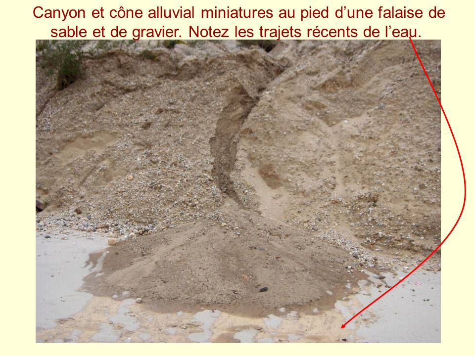 Canyon et cône alluvial miniatures au pied d'une falaise de sable et de gravier.