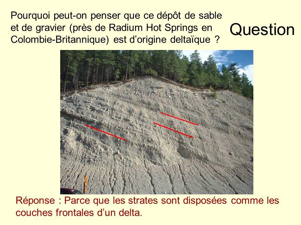 Pourquoi peut-on penser que ce dépôt de sable et de gravier (près de Radium Hot Springs en Colombie-Britannique) est d'origine deltaïque