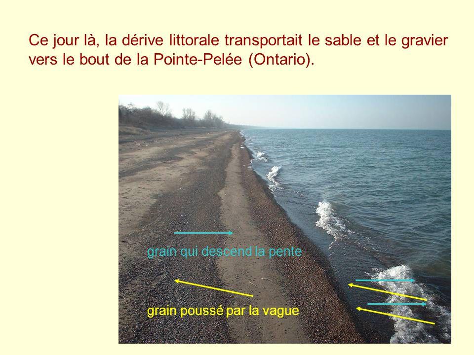 Ce jour là, la dérive littorale transportait le sable et le gravier vers le bout de la Pointe-Pelée (Ontario).