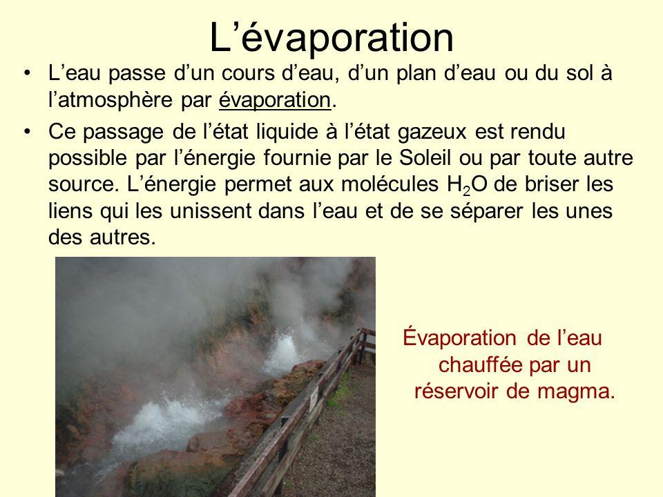 Évaporation de l'eau chauffée par un réservoir de magma.