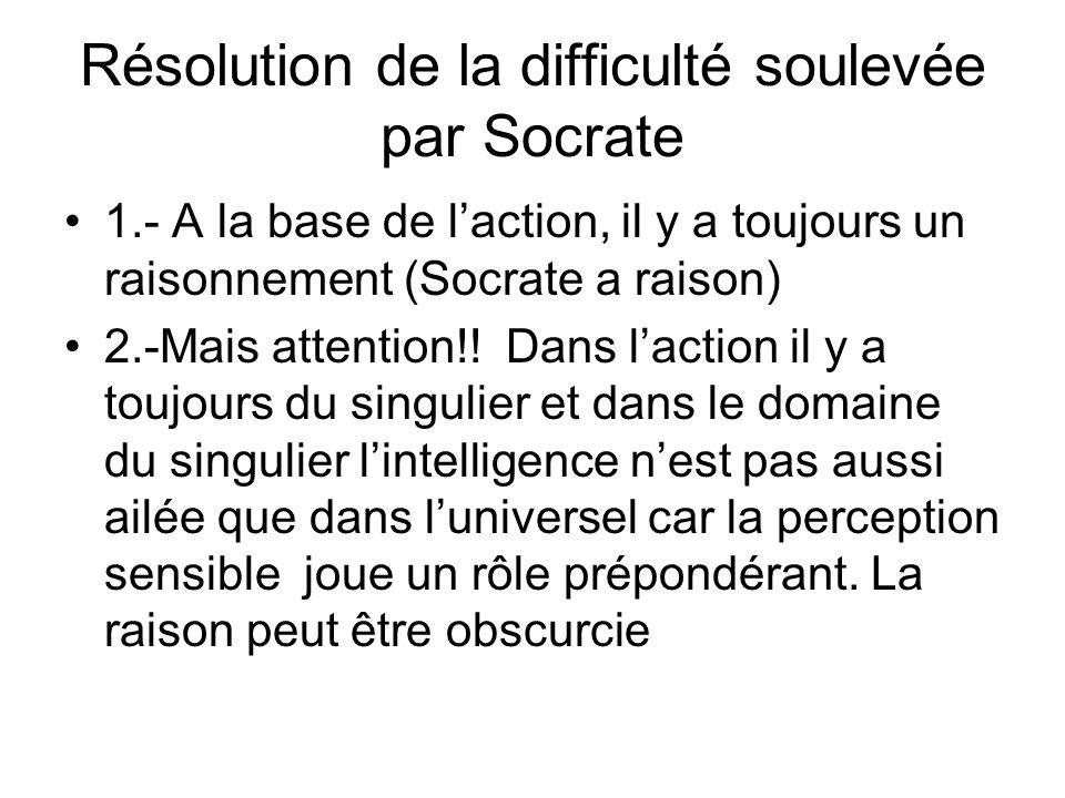 Résolution de la difficulté soulevée par Socrate