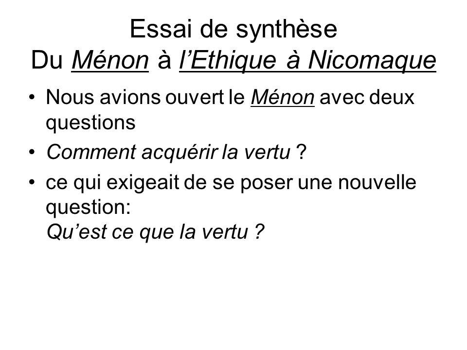 Essai de synthèse Du Ménon à l'Ethique à Nicomaque