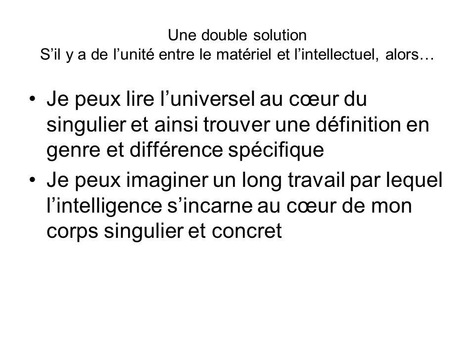 Une double solution S'il y a de l'unité entre le matériel et l'intellectuel, alors…