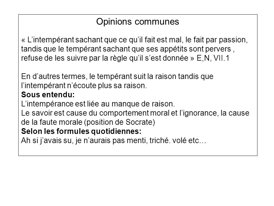 Opinions communes