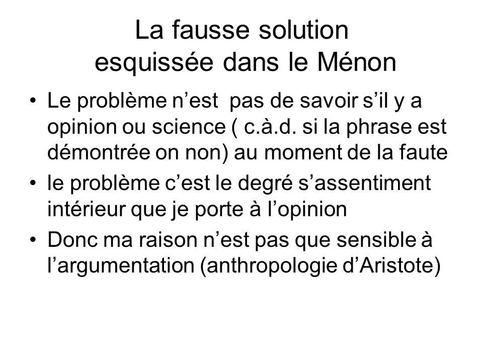 La fausse solution esquissée dans le Ménon