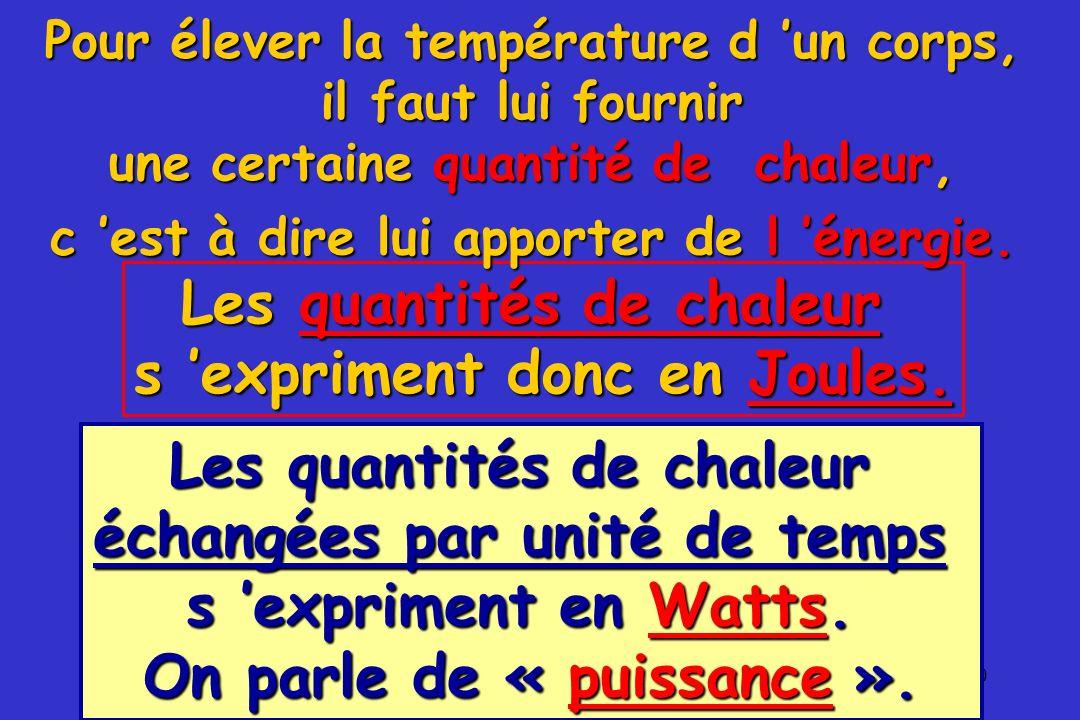 Les quantités de chaleur s 'expriment donc en Joules.