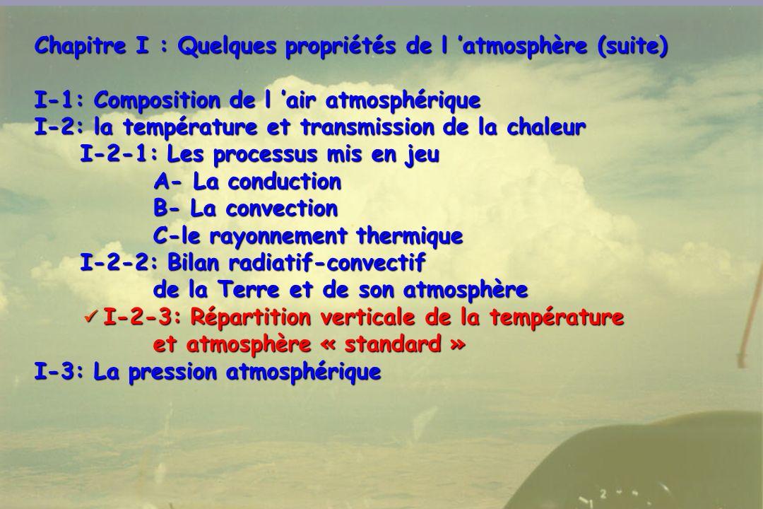 Chapitre I : Quelques propriétés de l 'atmosphère (suite)