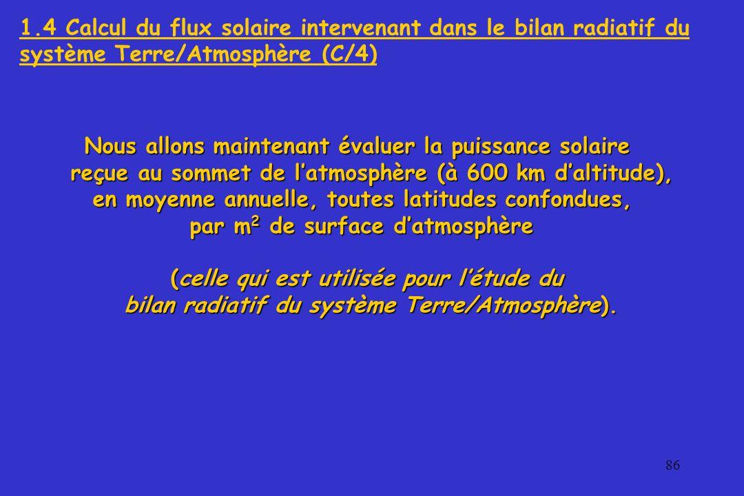 1.4 Calcul du flux solaire intervenant dans le bilan radiatif du