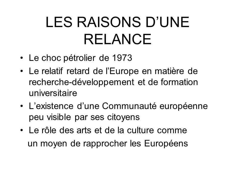 LES RAISONS D'UNE RELANCE