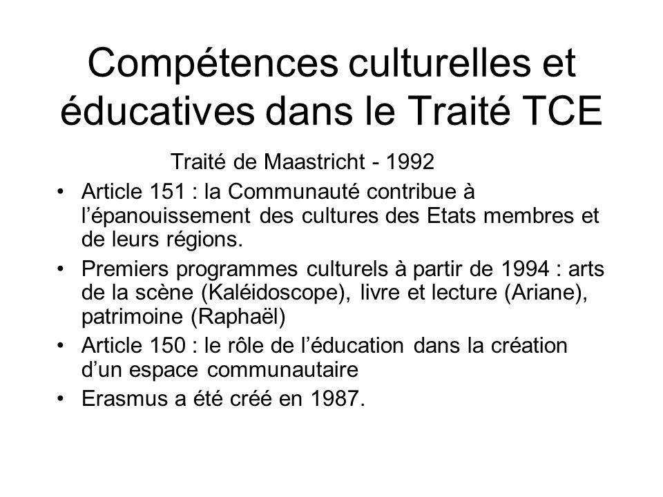 Compétences culturelles et éducatives dans le Traité TCE