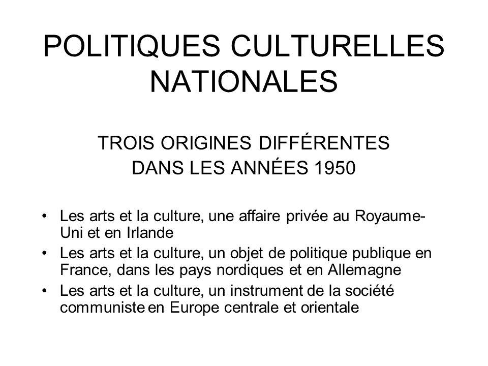 POLITIQUES CULTURELLES NATIONALES