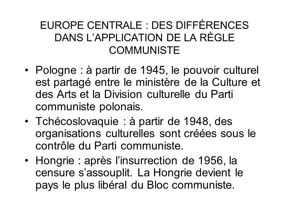 EUROPE CENTRALE : DES DIFFÉRENCES DANS L'APPLICATION DE LA RÈGLE COMMUNISTE