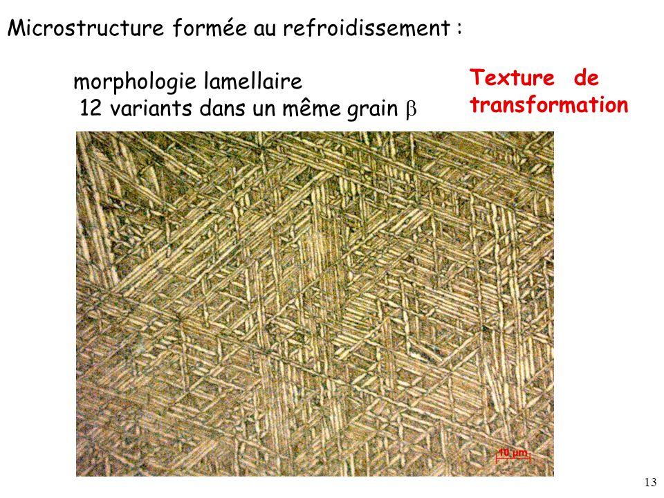 Microstructure formée au refroidissement :