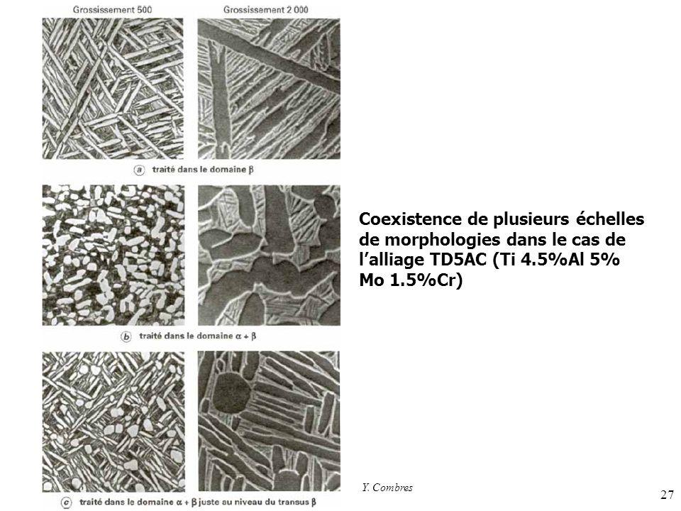 Coexistence de plusieurs échelles de morphologies dans le cas de l'alliage TD5AC (Ti 4.5%Al 5% Mo 1.5%Cr)