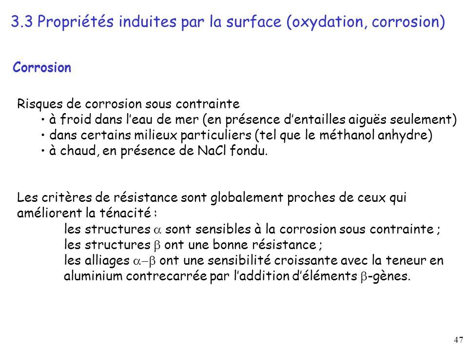 3.3 Propriétés induites par la surface (oxydation, corrosion)