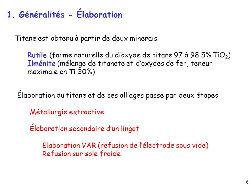 1. Généralités - Élaboration