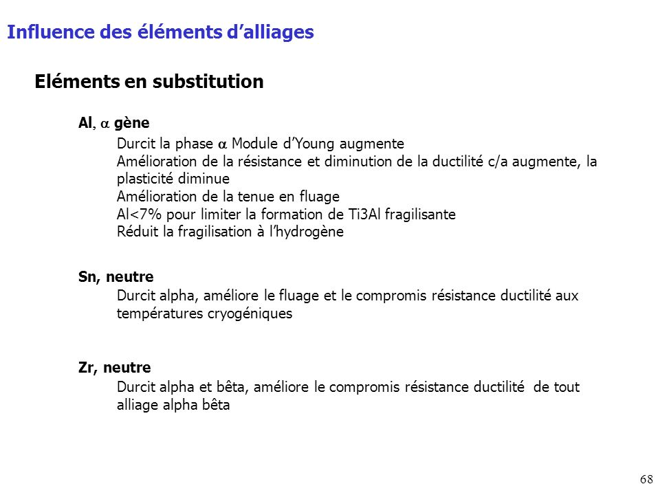 Influence des éléments d'alliages