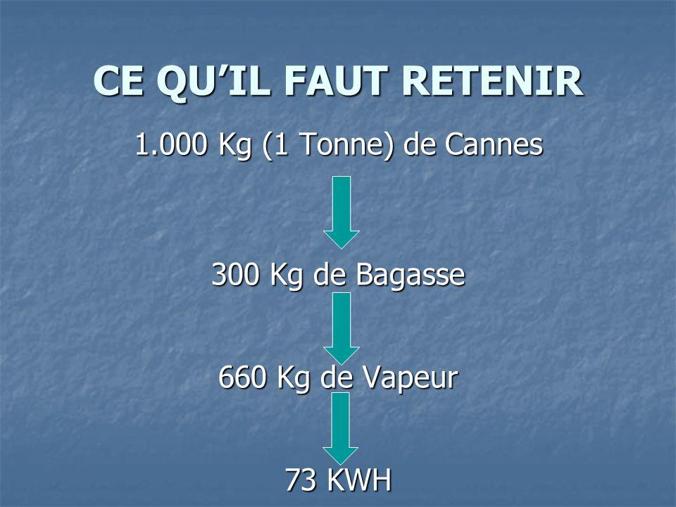 CE QU'IL FAUT RETENIR 1.000 Kg (1 Tonne) de Cannes 300 Kg de Bagasse