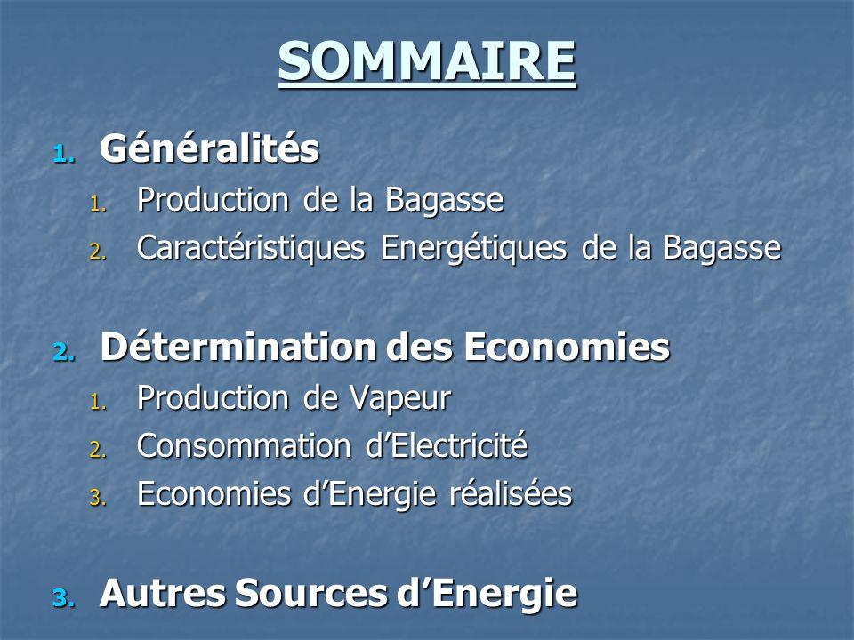 SOMMAIRE Généralités Détermination des Economies