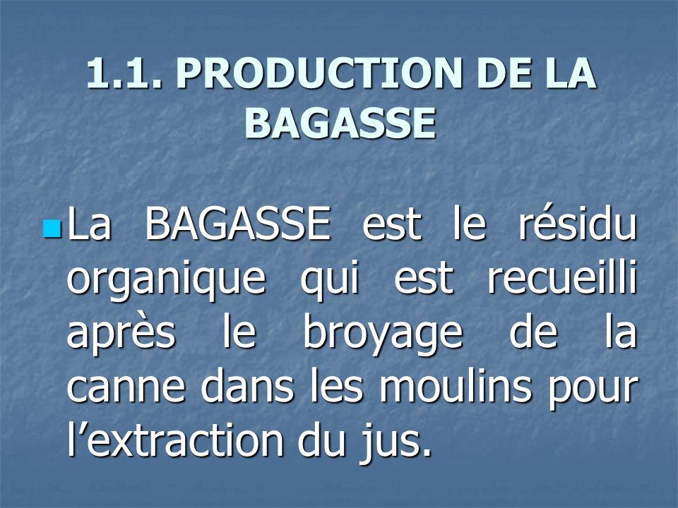 1.1. PRODUCTION DE LA BAGASSE