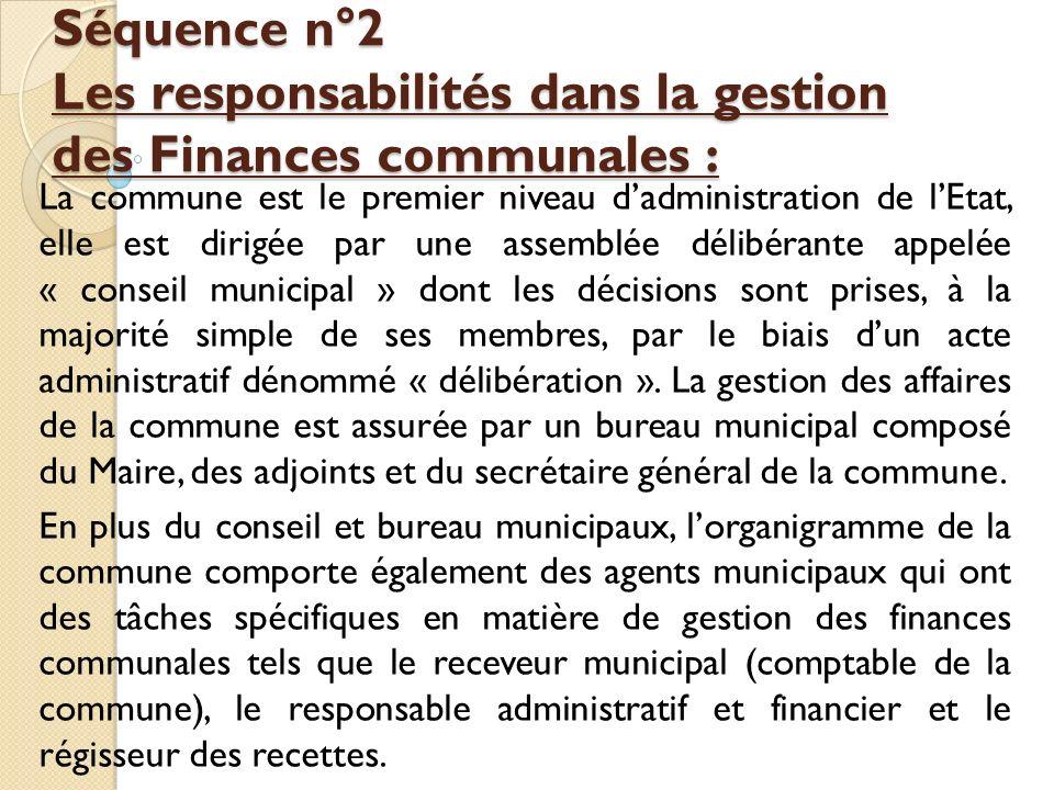Séquence n°2 Les responsabilités dans la gestion des Finances communales :