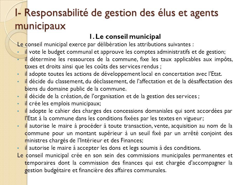 I- Responsabilité de gestion des élus et agents municipaux