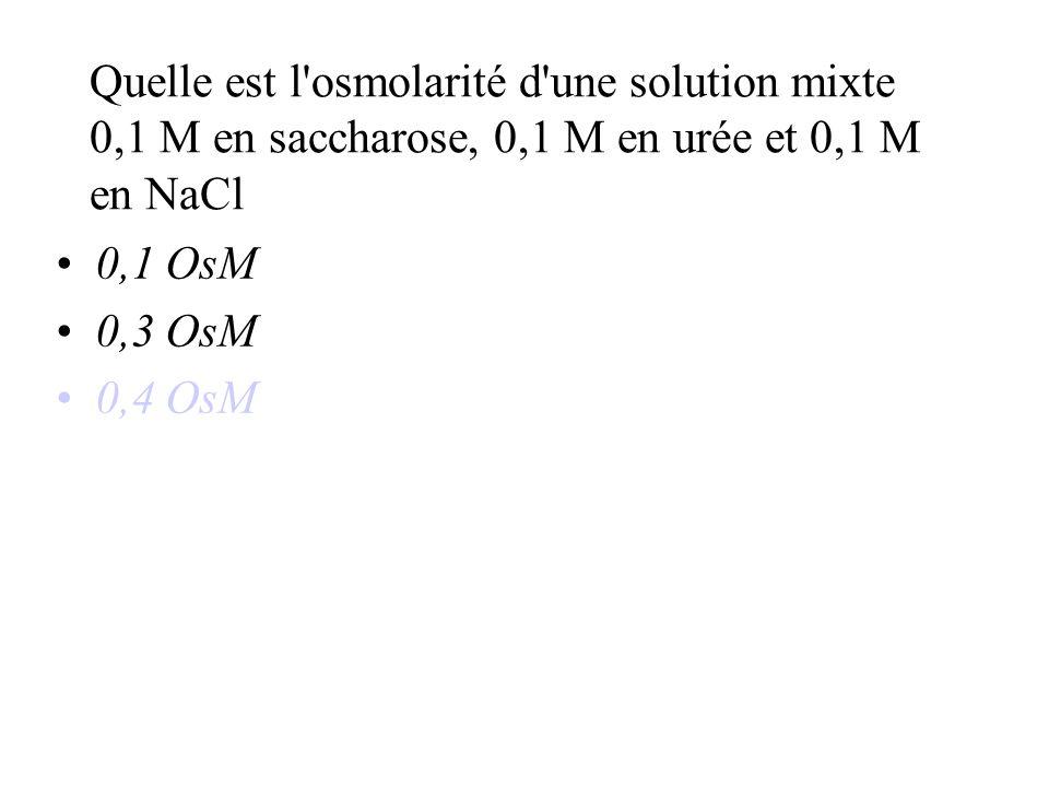 Quelle est l osmolarité d une solution mixte 0,1 M en saccharose, 0,1 M en urée et 0,1 M en NaCl