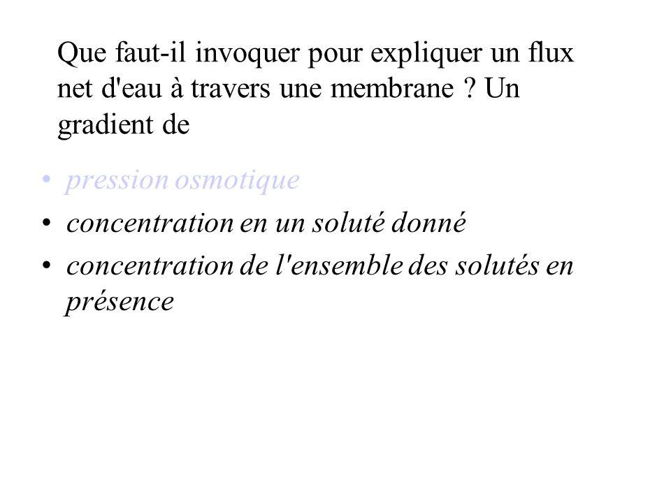Que faut-il invoquer pour expliquer un flux net d eau à travers une membrane Un gradient de