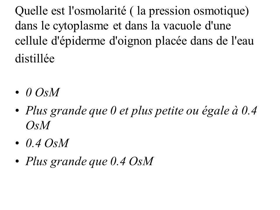 Quelle est l osmolarité ( la pression osmotique) dans le cytoplasme et dans la vacuole d une cellule d épiderme d oignon placée dans de l eau distillée