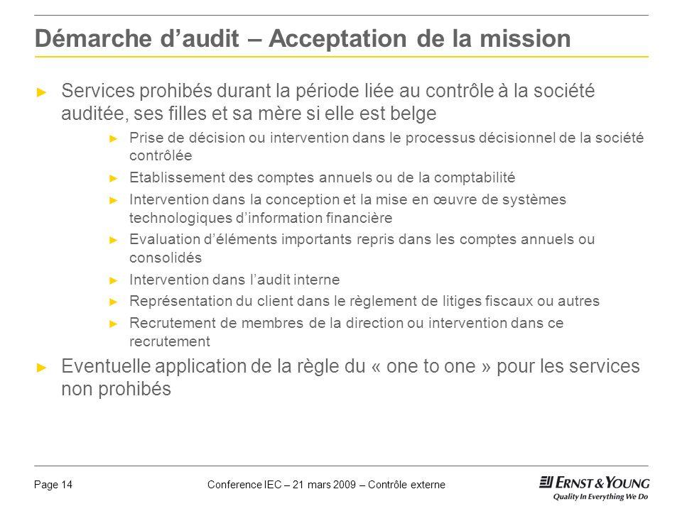 Démarche d'audit – Acceptation de la mission