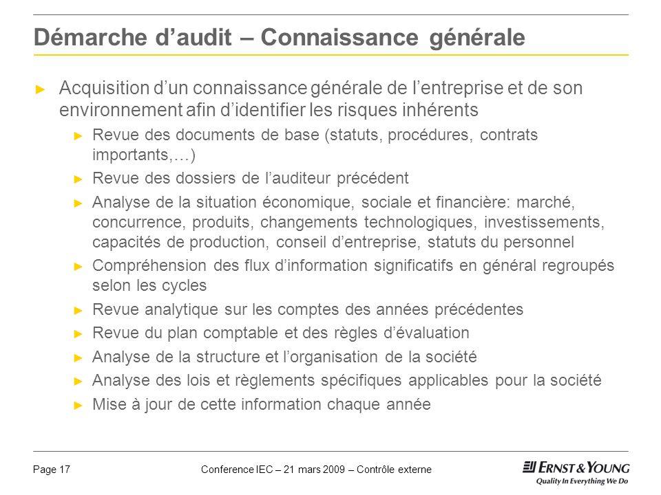 Démarche d'audit – Connaissance générale