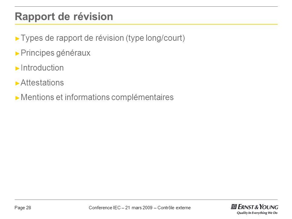 Rapport de révision Types de rapport de révision (type long/court)