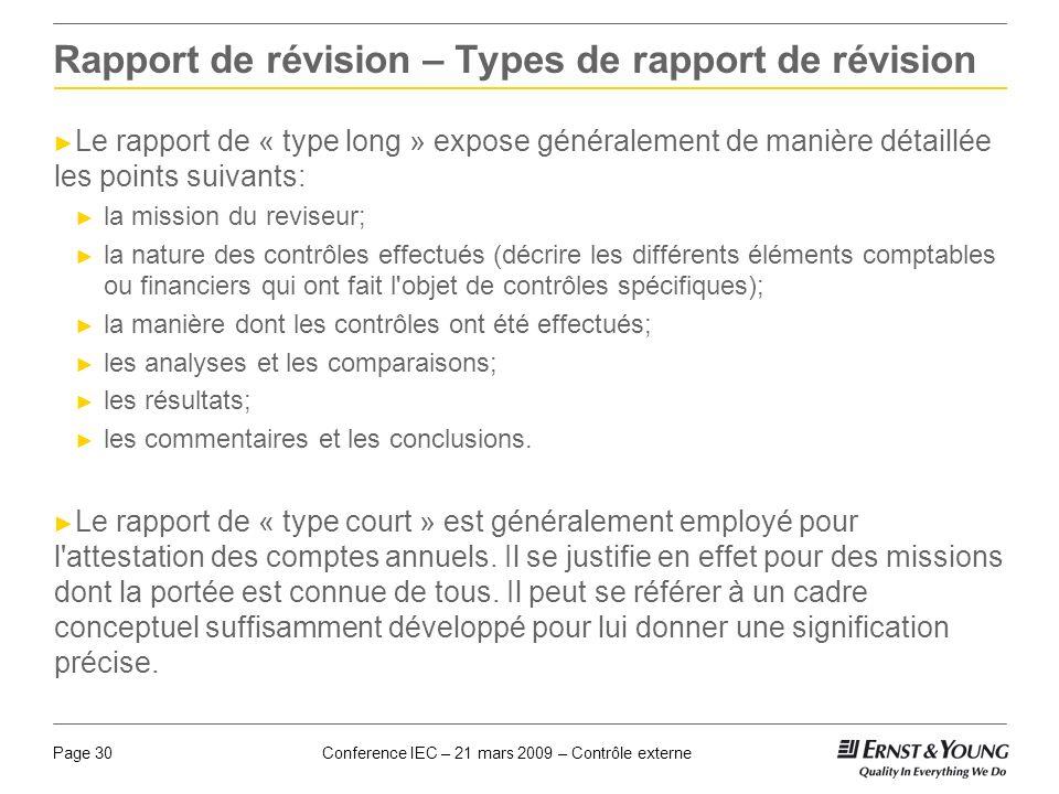 Rapport de révision – Types de rapport de révision