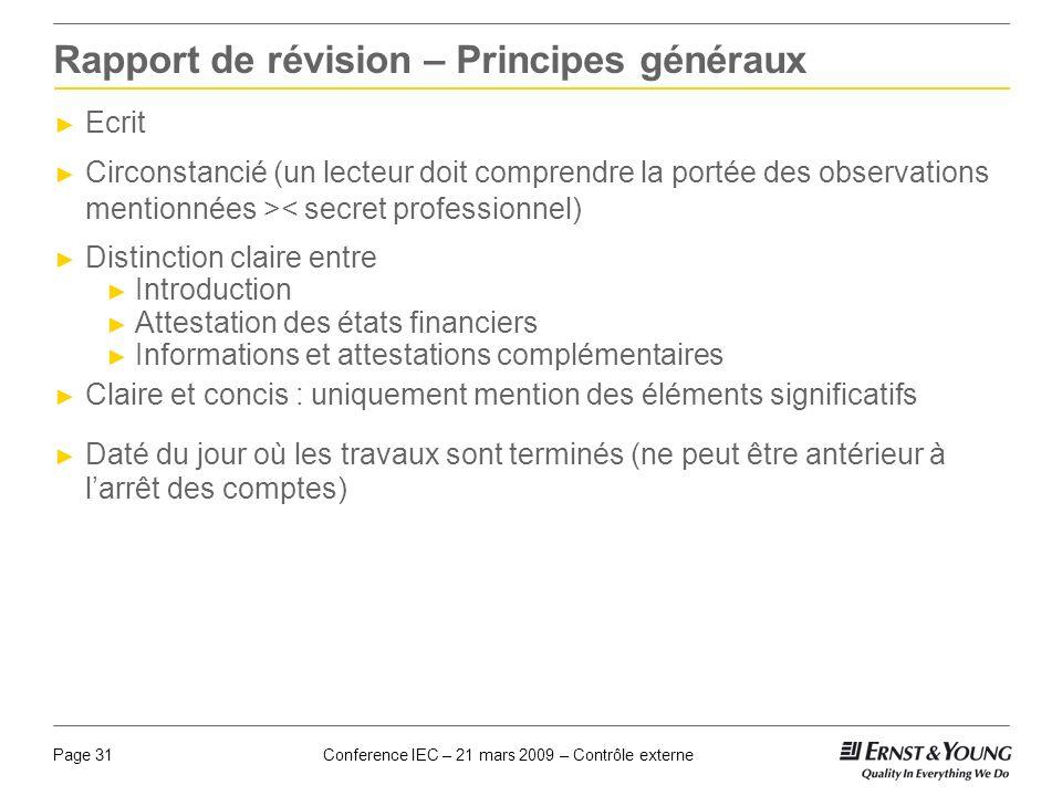 Rapport de révision – Principes généraux