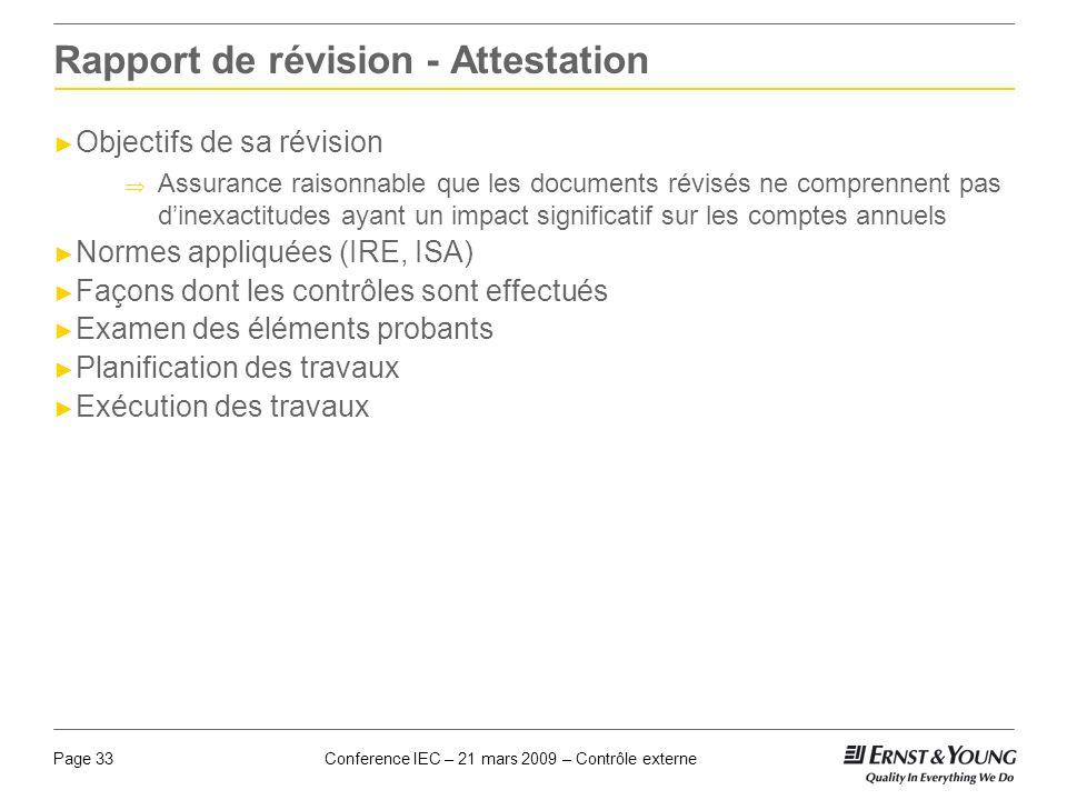 Rapport de révision - Attestation