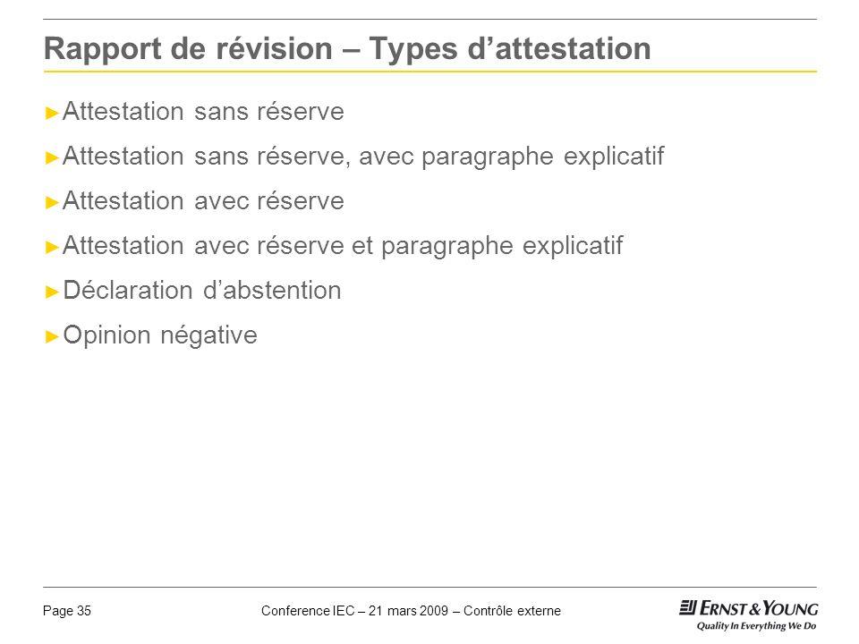Rapport de révision – Types d'attestation