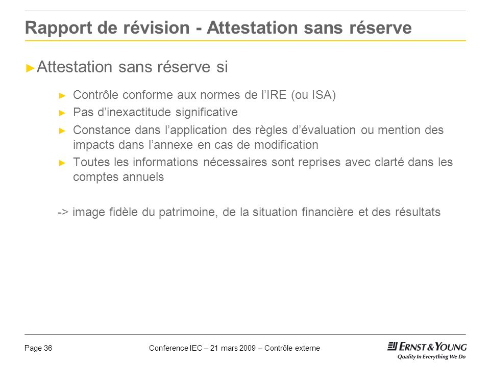 Rapport de révision - Attestation sans réserve