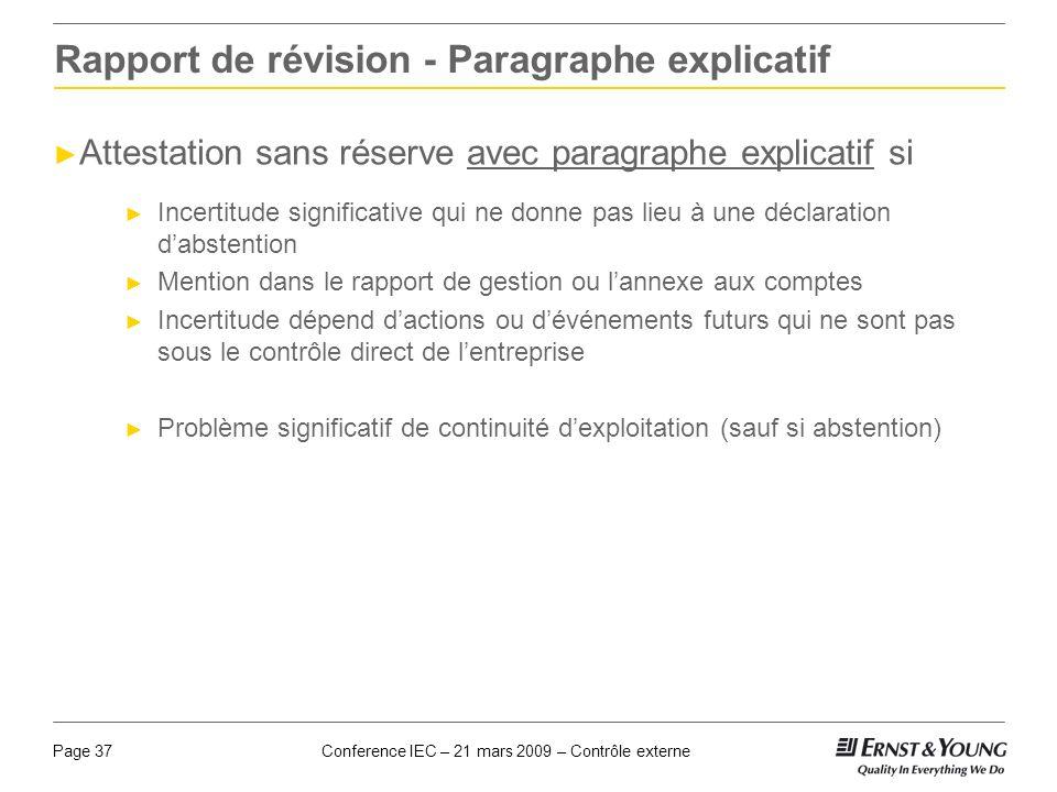 Rapport de révision - Paragraphe explicatif