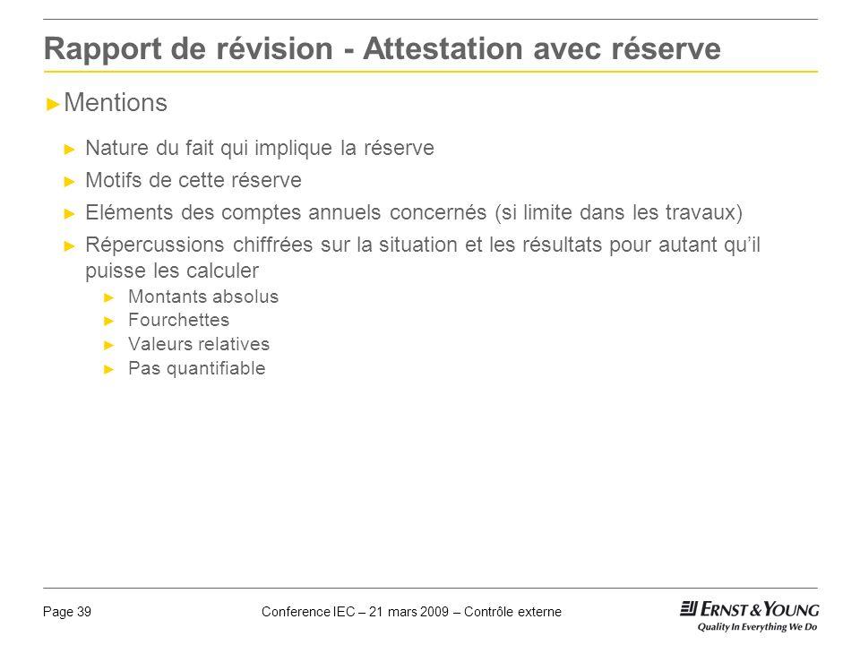 Rapport de révision - Attestation avec réserve