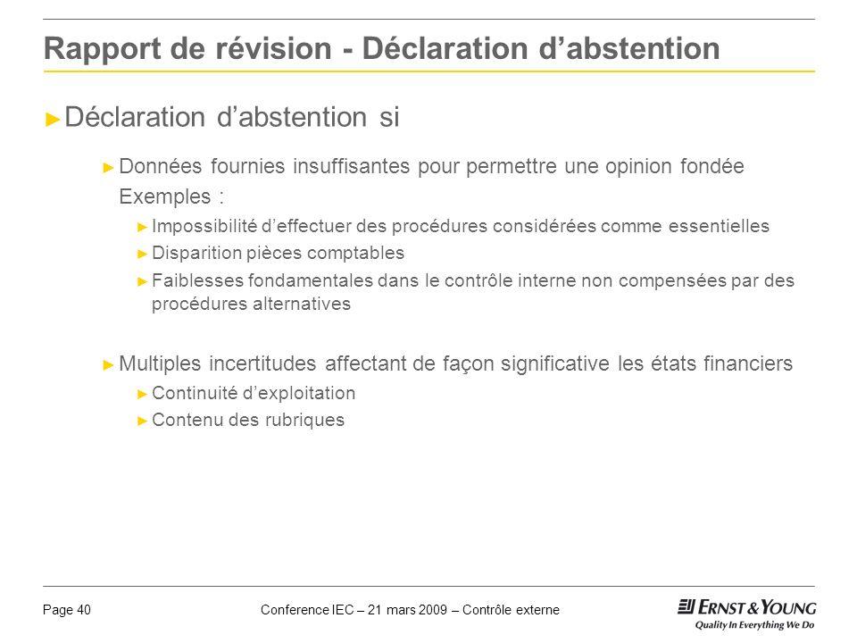 Rapport de révision - Déclaration d'abstention