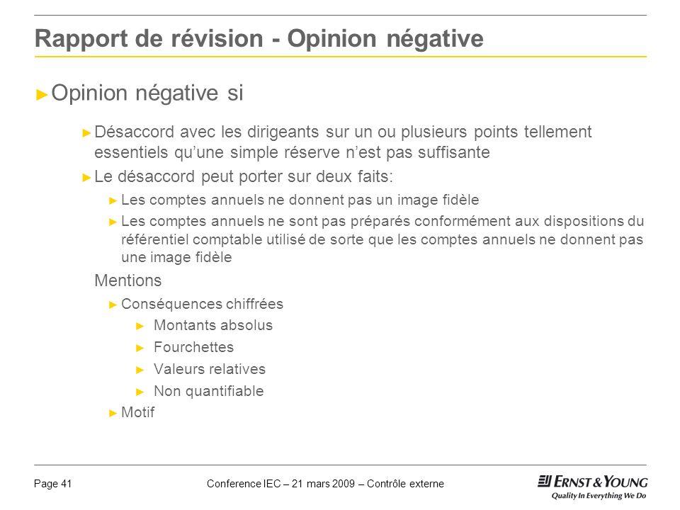 Rapport de révision - Opinion négative