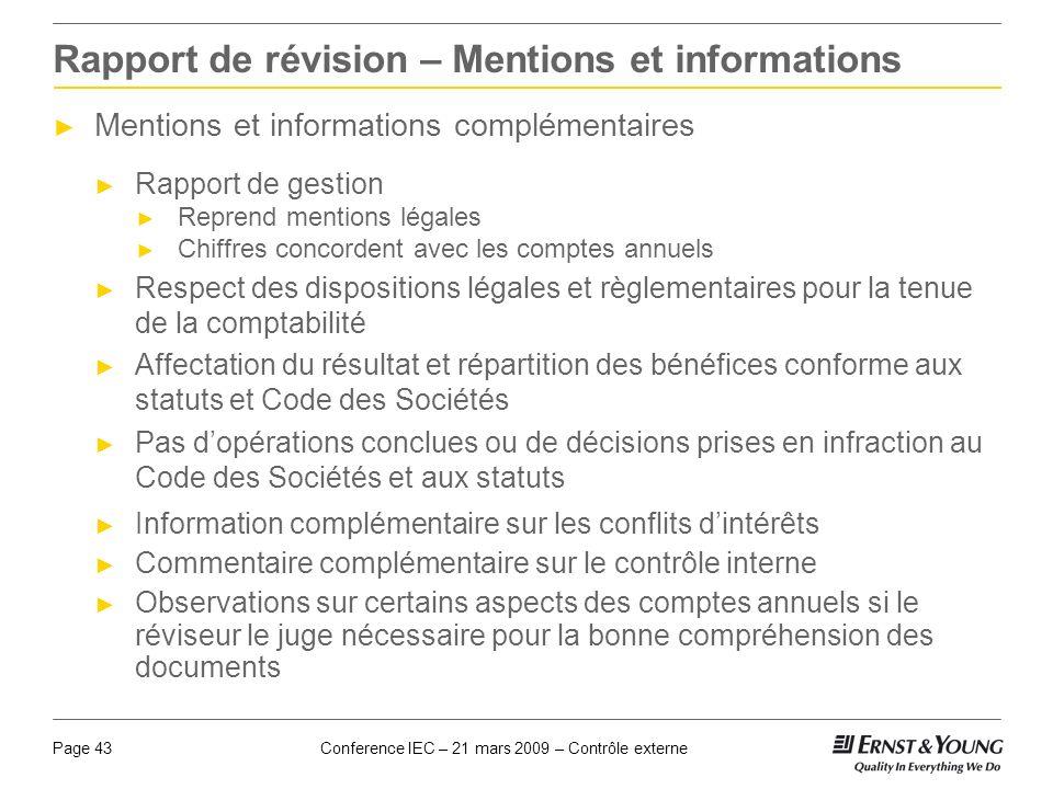 Rapport de révision – Mentions et informations