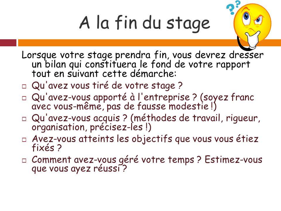 A la fin du stage