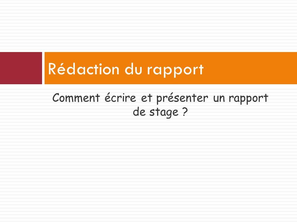Comment écrire et présenter un rapport de stage