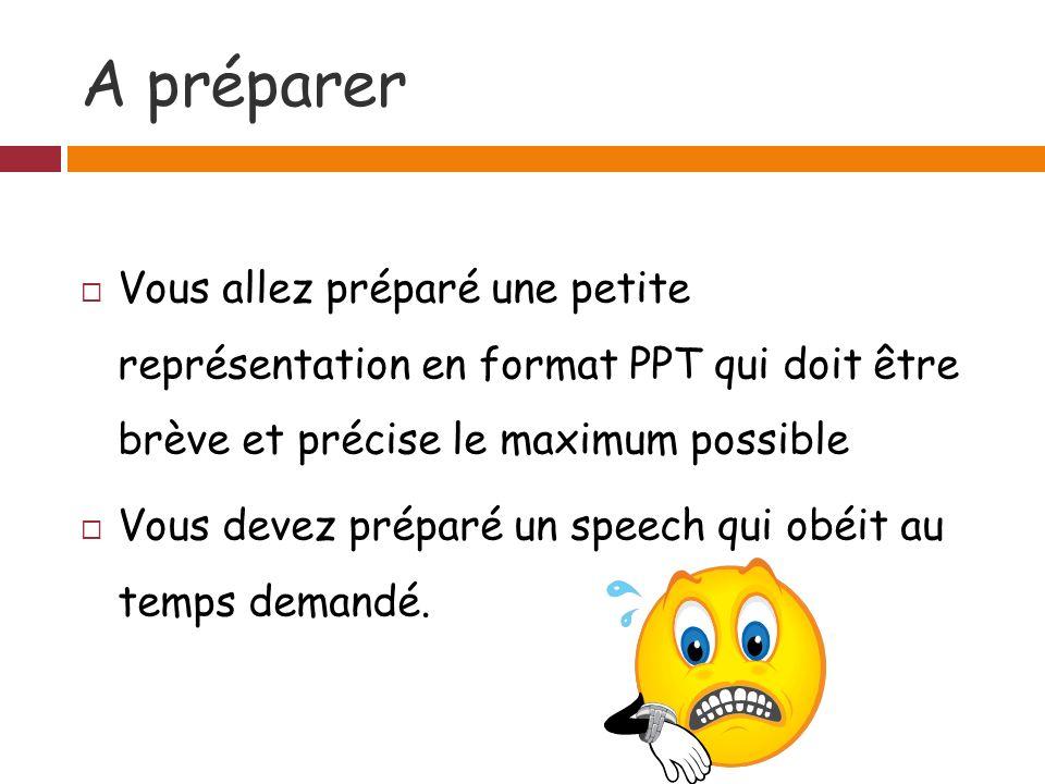 A préparer Vous allez préparé une petite représentation en format PPT qui doit être brève et précise le maximum possible.