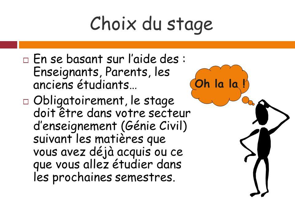 Choix du stage En se basant sur l'aide des : Enseignants, Parents, les anciens étudiants…
