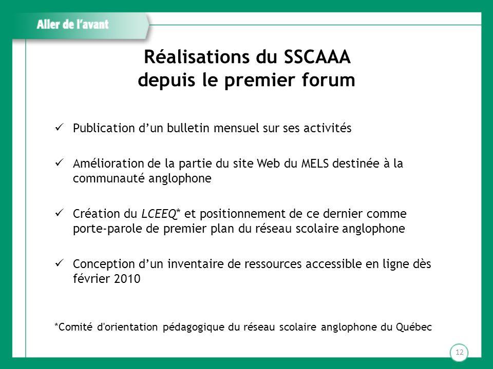 Réalisations du SSCAAA depuis le premier forum