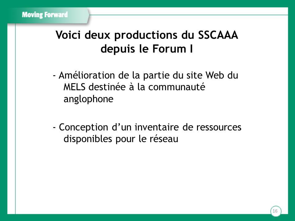 Voici deux productions du SSCAAA depuis le Forum I
